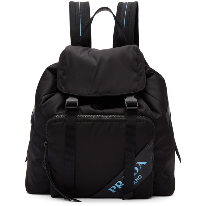 9c7fcc9fd6ec Prada Black Nylon Logo Backpack