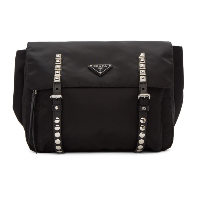 Prada Black Large Studded Belt Bag