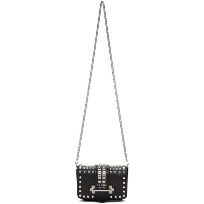 Prada Black Small Studded Cahier Chain Belt Pouch