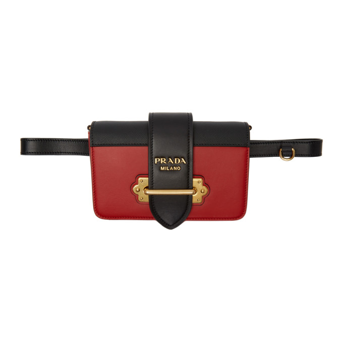 Prada Black & Red Cahier Belt Pouch