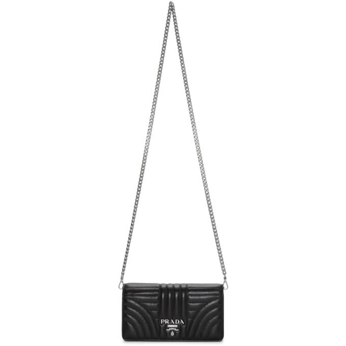 Prada Black Quilted Chain Wallet Bag