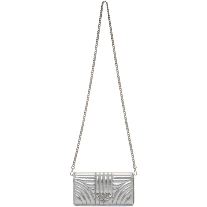 Prada Silver Quilted Chain Wallet Bag