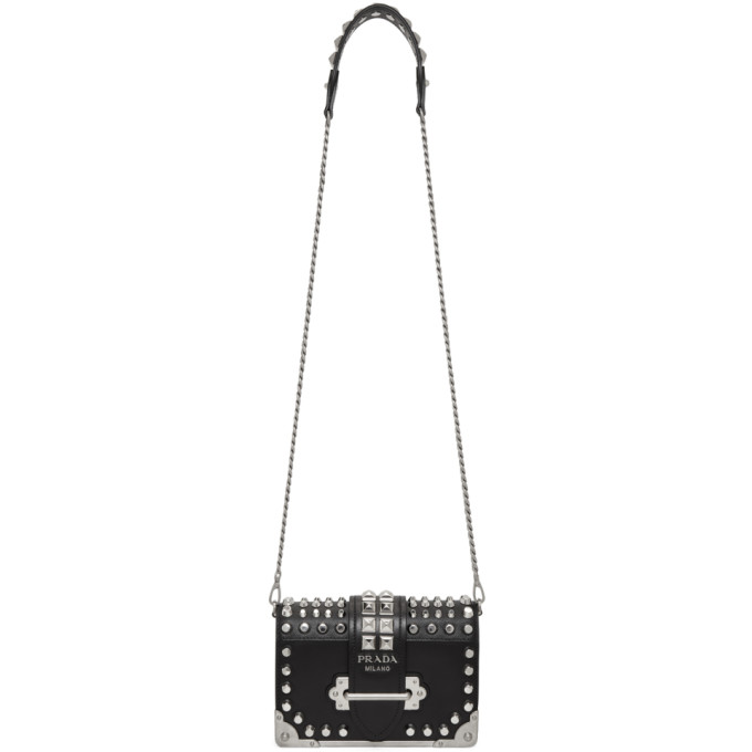 Prada Black Small Studded Cahier Bag
