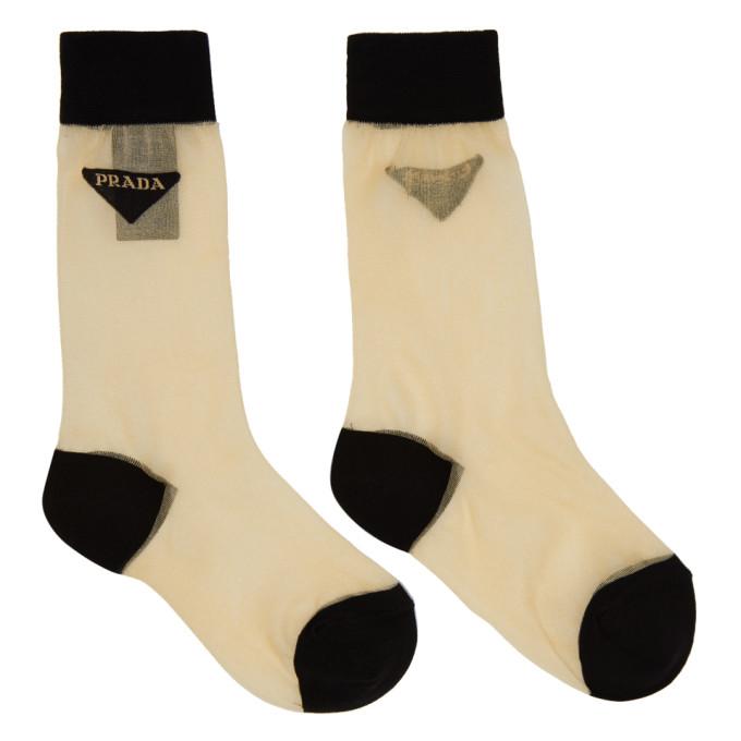 Image of Prada Beige Mesh Logo Socks