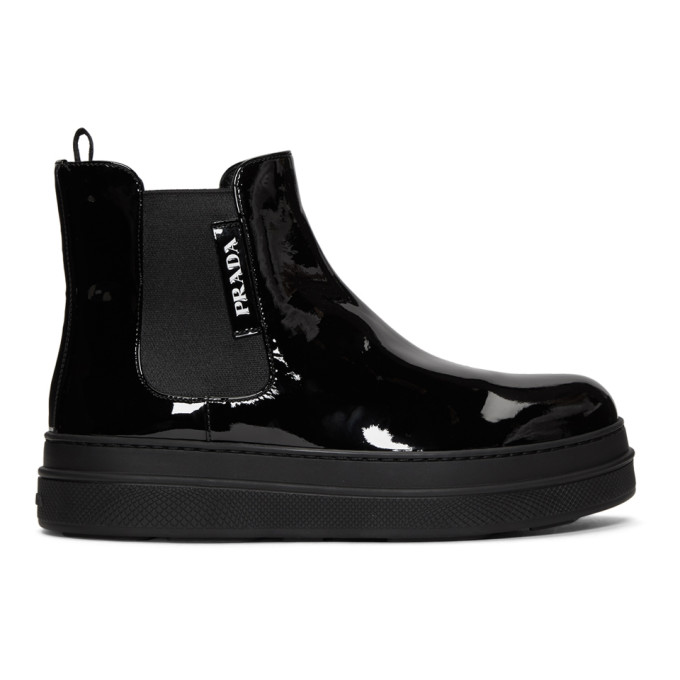 Prada Black Patent Double Sole Chelsea Boots