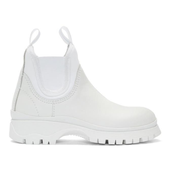 Prada White Neoprene Insert Chelsea Boots