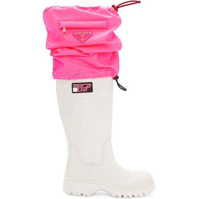 Prada White & Pink Covered Tall Boots