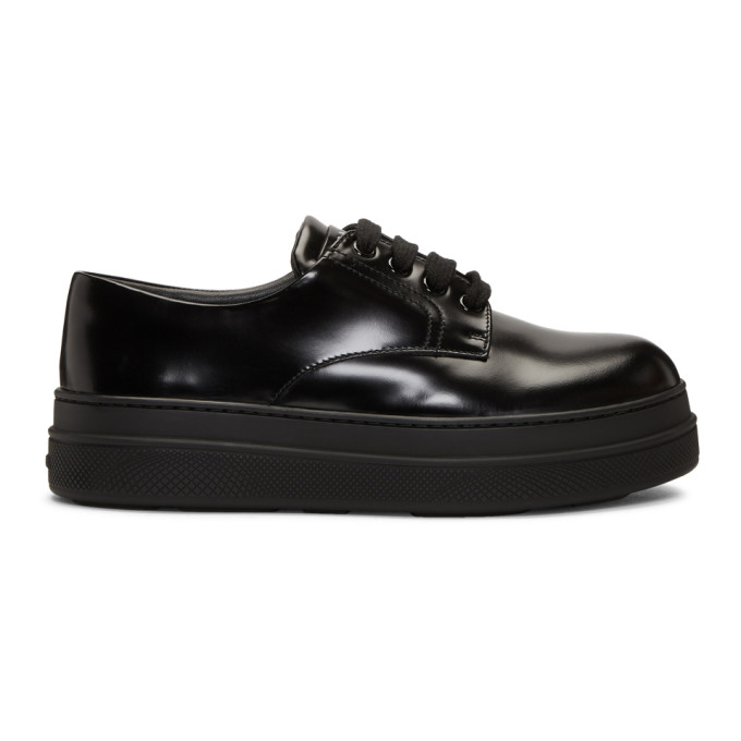 Prada Black Patent Double Sole Derbys