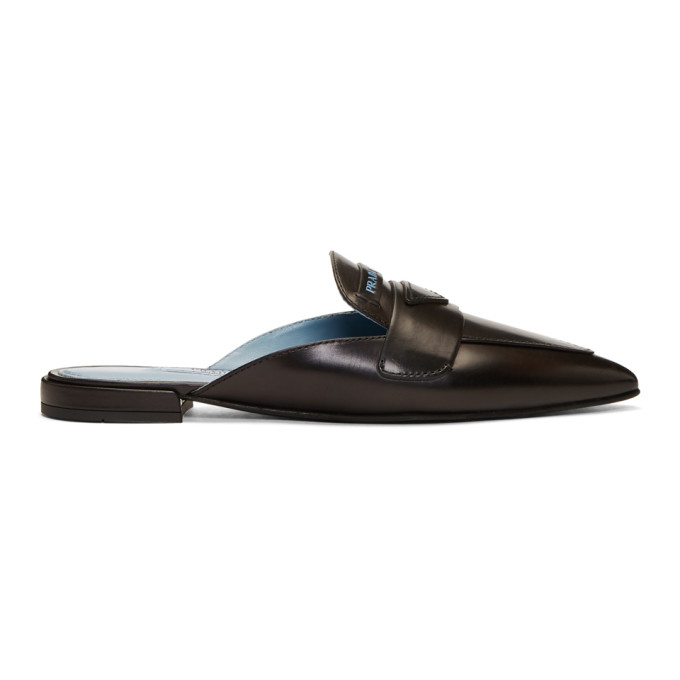 Prada Black Pointy Slip-On Loafers