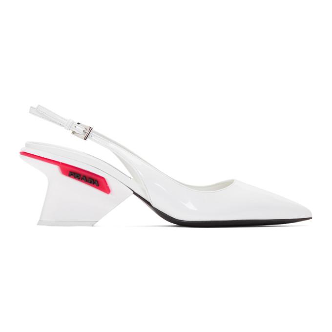 Prada White Slingback Logo Heels
