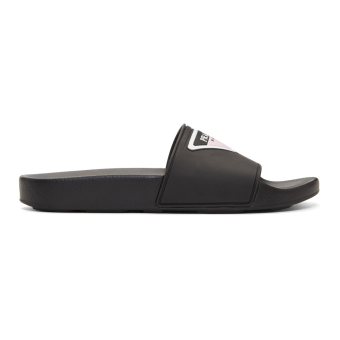 Prada Black Rubber Triangle Logo Slides