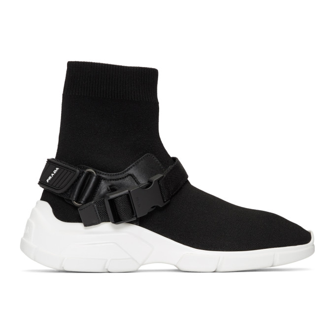 Prada Black Chunky Sole High-Top Sneakers
