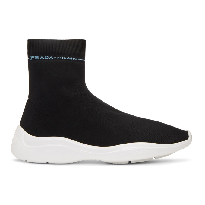 Prada Black Sock High-Top Sneakers