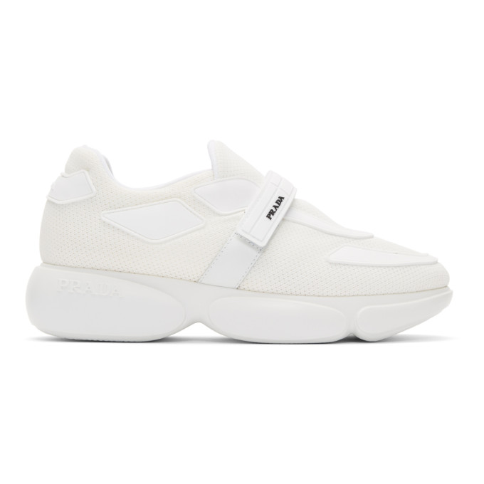 Prada White Tonal Cloudbust Sneakers