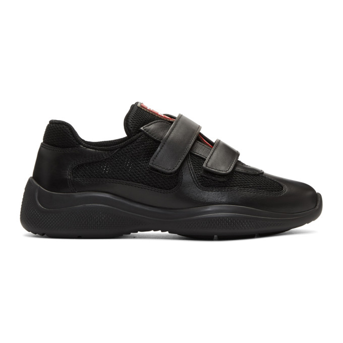 Prada Black Leather & Mesh Straps Sneakers