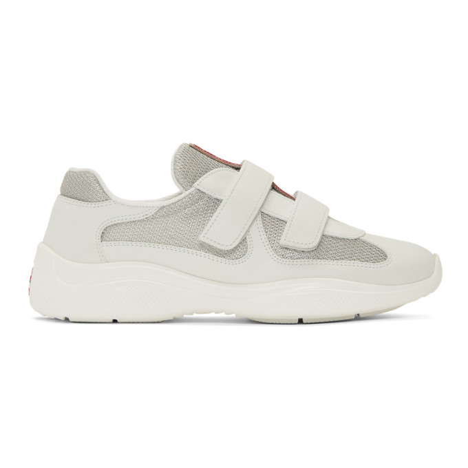 Prada White Leather and Mesh Straps Sneakers