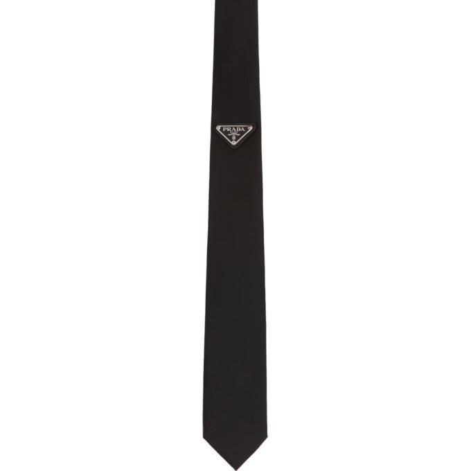 Prada Black Triangle Logo Tie