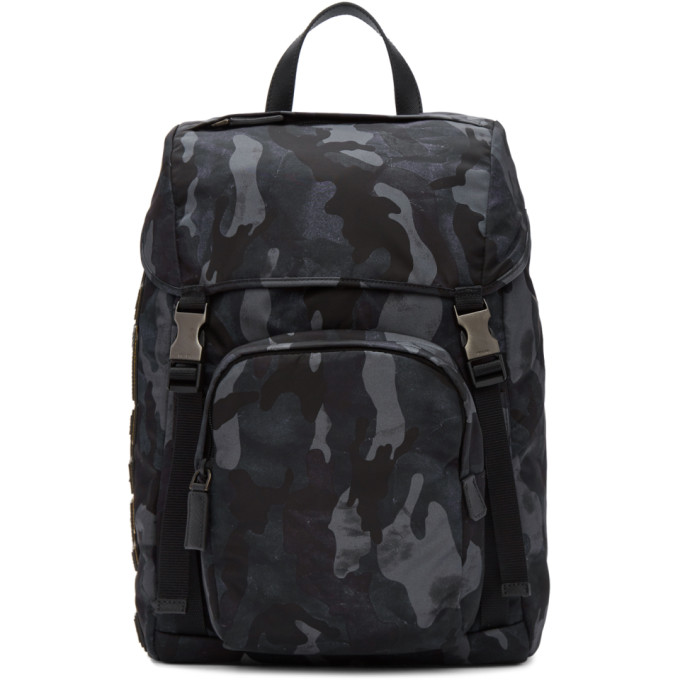 Prada Blue Camouflage Character Backpack