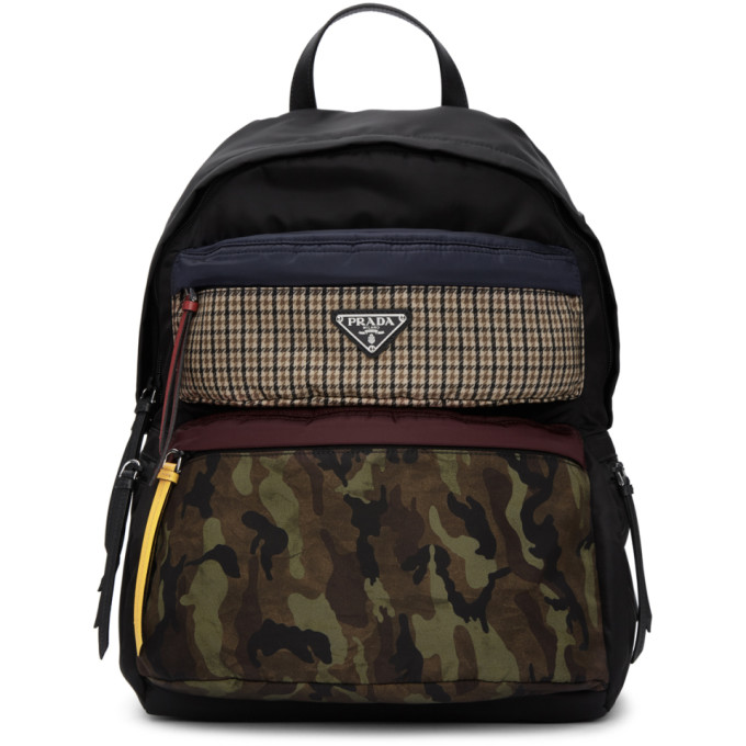 b011c3dac750 Prada Black Camouflage Backpack