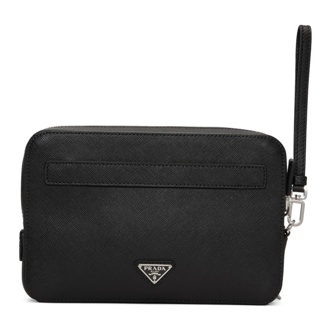 Prada Black Saffiano Travel Zip Pouch