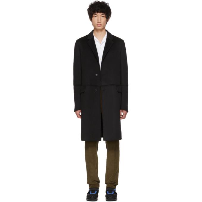 Prada ブラック ウール ストレート コート