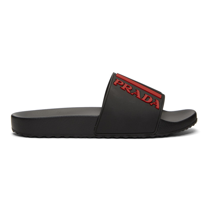 Prada Black & Red Pool Slides