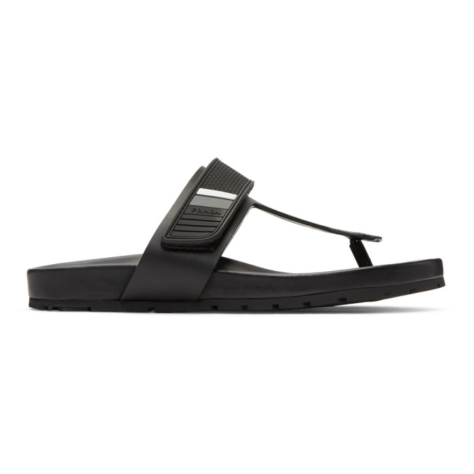Prada Black Leather & Rubber Logo Sandals