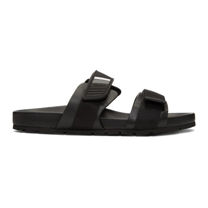 Prada Black Velcro Strap Sandals