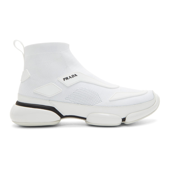 Prada White Sock High-Top Sneakers