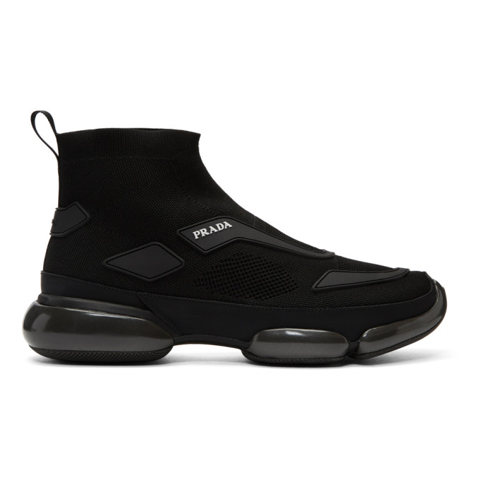 Prada Black Sport Knit High-Top Sneakers
