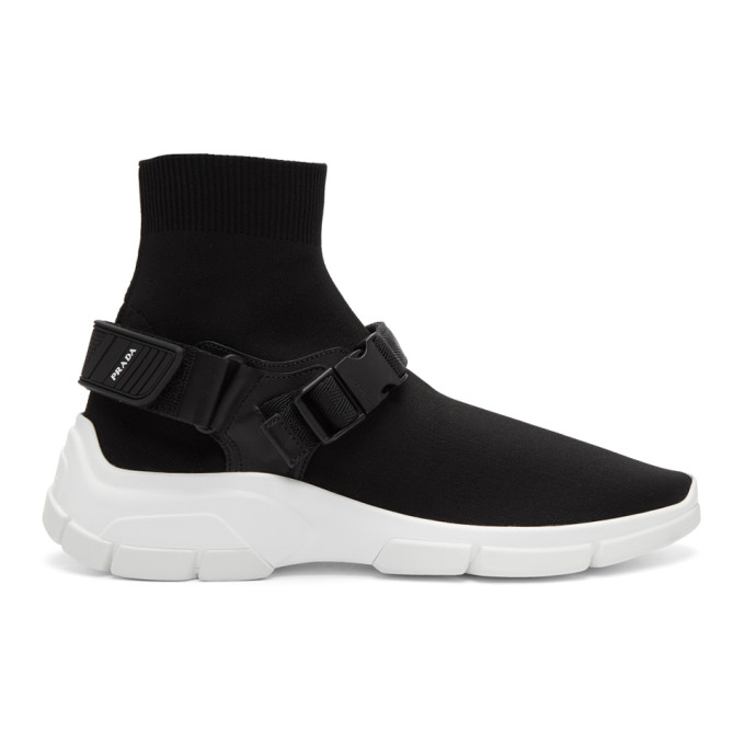 Prada Black Buckled Sock High-Top Sneakers