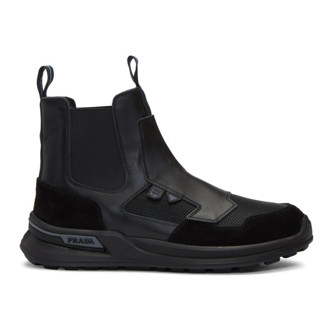 Prada Black Leather High-Top Sneakers