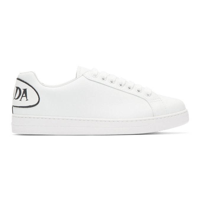Prada White Leather Speech Bubble Logo Sneakers