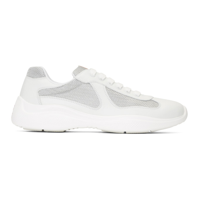 Prada White & Silver Leather & Mesh Sneakers