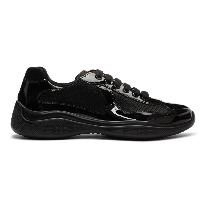 Prada Black Patent Leather & Mesh Sneakers