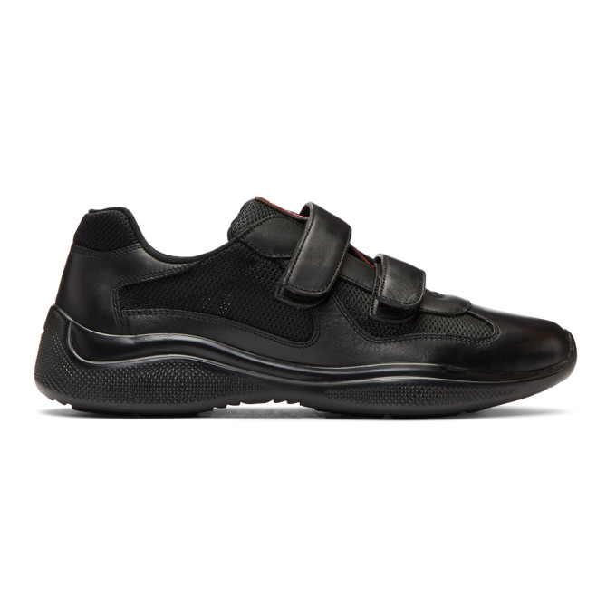 Prada Black Mesh & Leather Velcro Sneakers