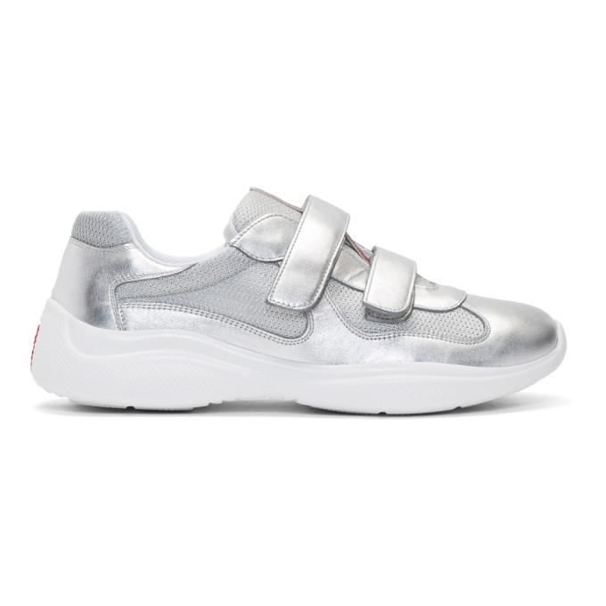 Prada Silver Straps Sneakers