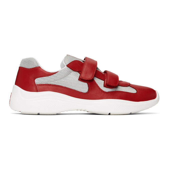 Prada Red & Silver Leather Velcro Sneakers