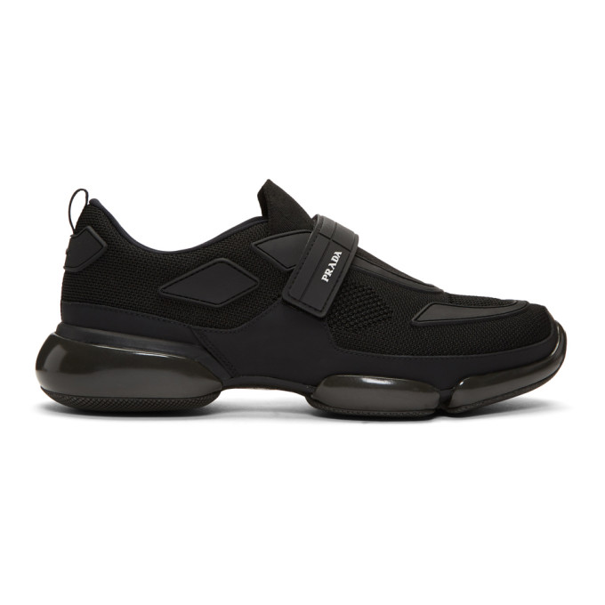 Prada Black Velcro Sport Knit Sneakers