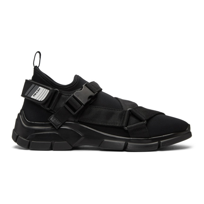 Prada Black Neoprene Buckled Wedge Sneakers