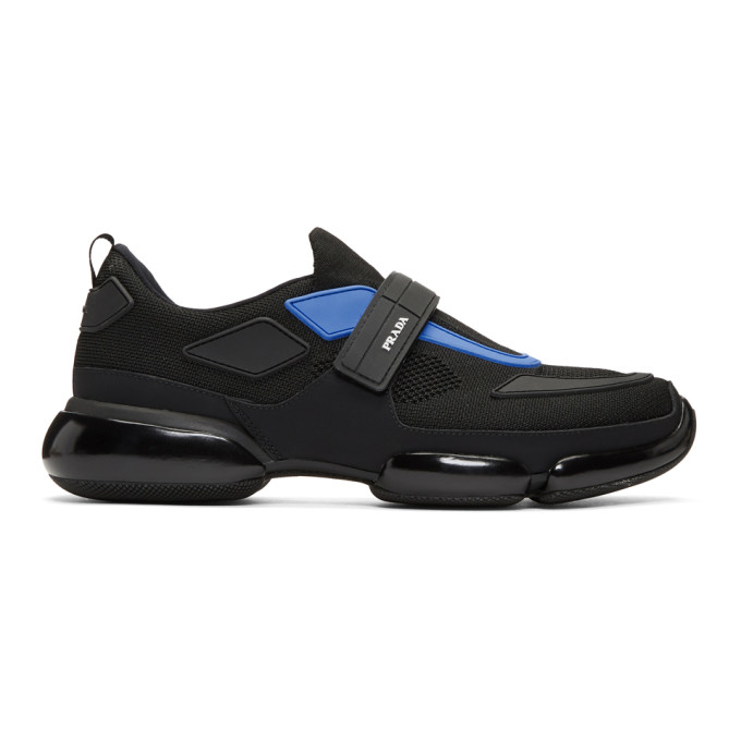 Prada Black & Blue Sport Sneakers
