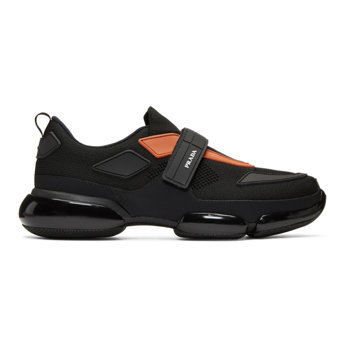 Prada Black & Orange Sport Sneakers