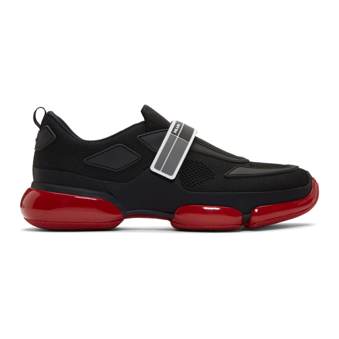 Prada Black & Red Cloudbust Sneakers