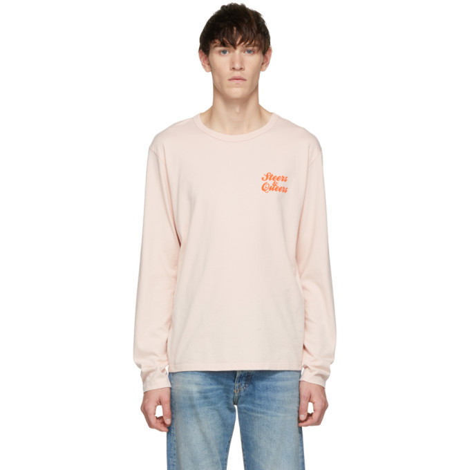 BIANCA CHANDON Bianca Chandon Pink Steers And Queers Long Sleeve T-Shirt in Sandstone