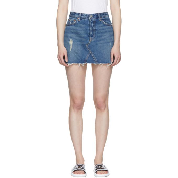 Image of Grlfrnd Blue Eva Gusset Denim Miniskirt