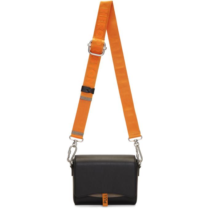 Image of Heron Preston Black & Orange Leather Flap Bag