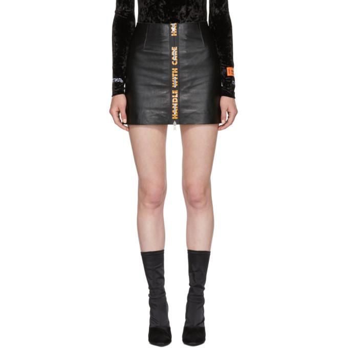 Image of Heron Preston Black Leather 'Handle' Miniskirt