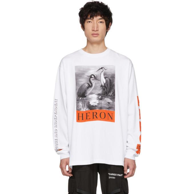 Heron Preston ホワイト ロング スリーブ Heron T シャツ