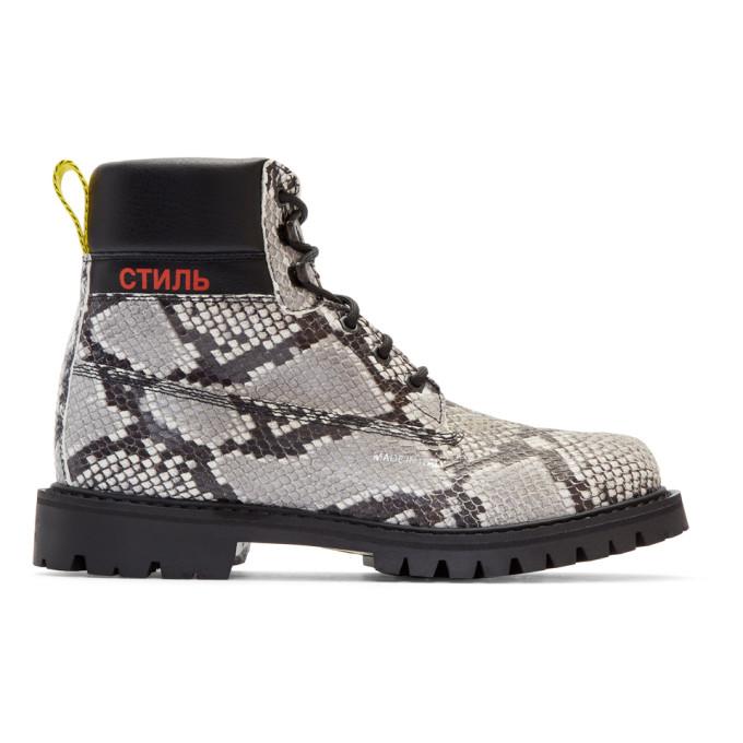 Image of Heron Preston Black & Beige Python Boots