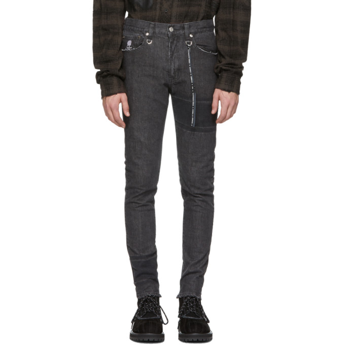 Mastermind World Black Striped Skinny Jeans